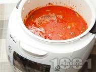 Рецепта Задушено телешко месо от шол в неаполитански сос от домати и босилек в Делимано Мултикукър